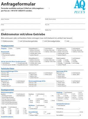 Anfrage Elektromotor Getriebe Anfrageformular nutzen bringt Nutzen ...
