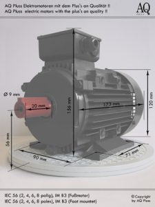 Bauformen Maße im Bild IEC Baugrösse 56 Achshöhe 56 mm