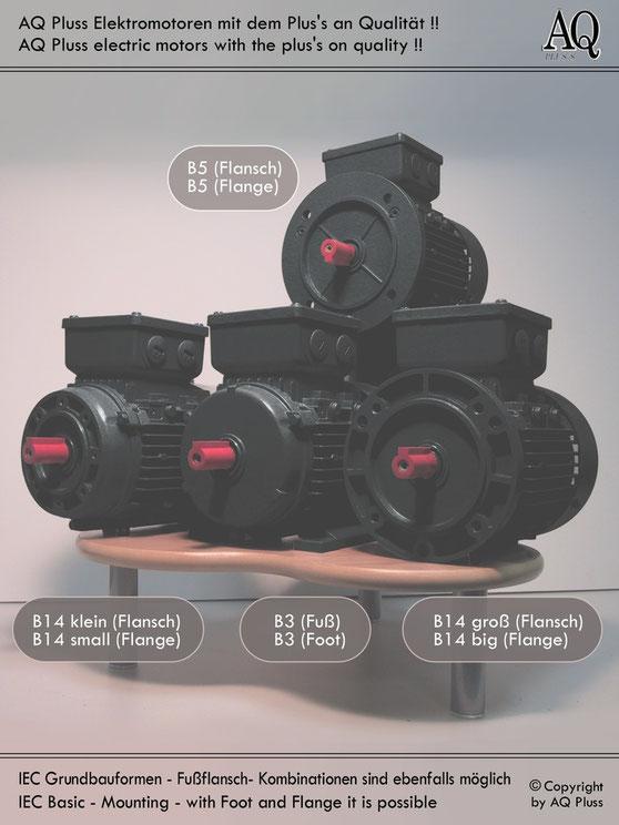 Bauformen Maße im Bild dazu Grundbauformen Fussmotor Flanschmotoren