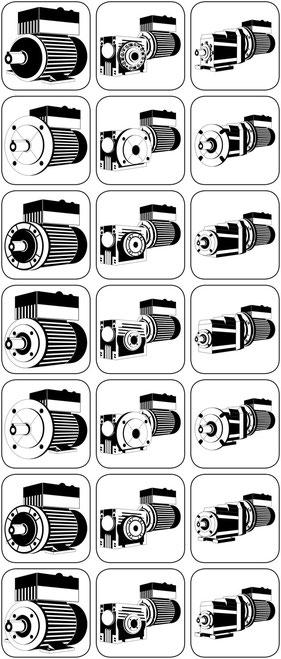 Anschluss für Frequenzumrichter Anpassungen an Frequenzumrichter Der Integralmotor mit dem angebauten Frequenzumrichter in IP 65