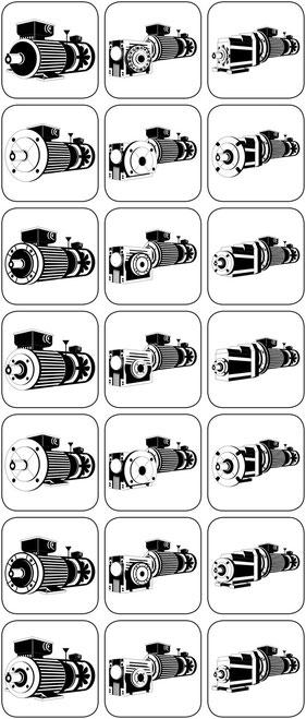 Anschluss für Frequenzumrichter Der Integralmotor mit dem angebauten Frequenzumrichter in IP 65 Anpassungen an Frequenzumrichter