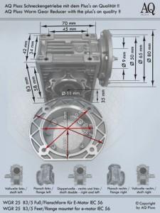 Schneckengetriebe ohne Elektromotor 7 Bauformen