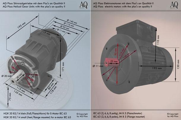 Stirnradgetriebe mit EW Mot 230 V Übersicht